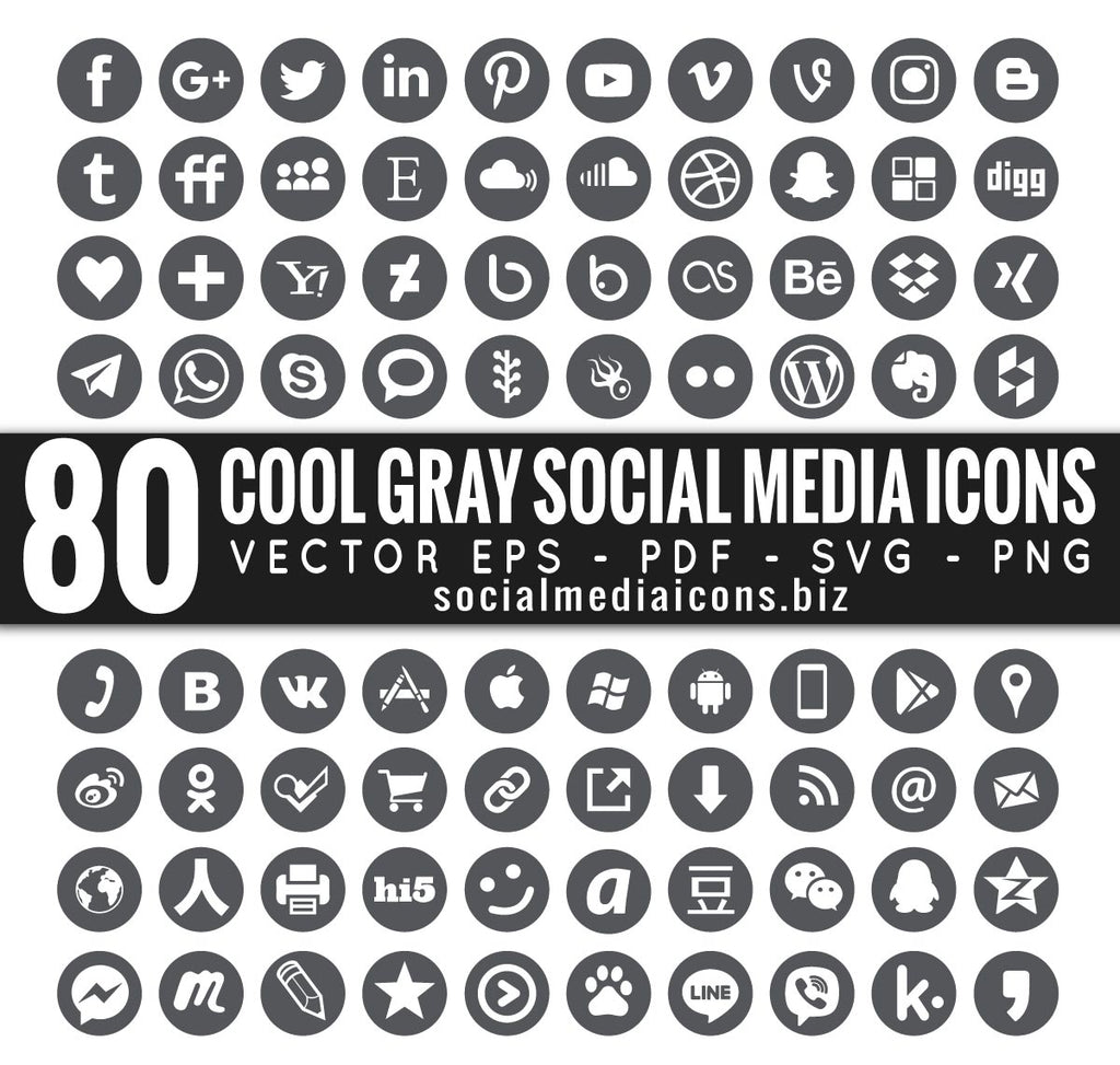 Round Cool Gray Vector Icons
