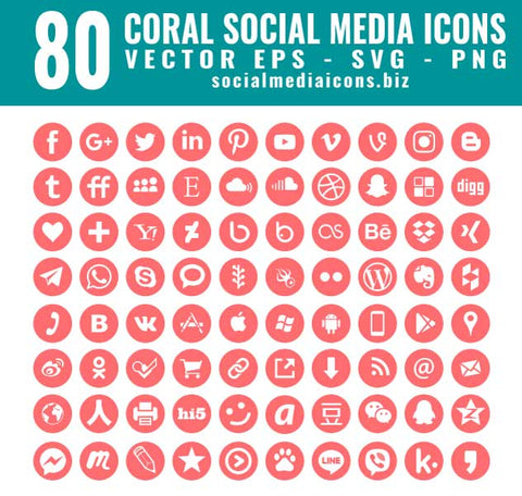 Living Coral Round Vector Icons