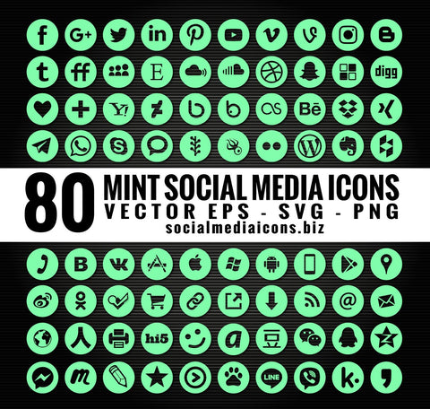 Hexachrome Mint social media icons