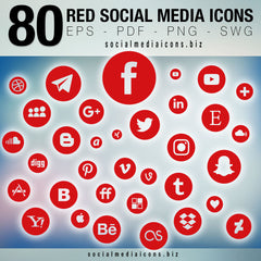 Red vector Social Media Icons