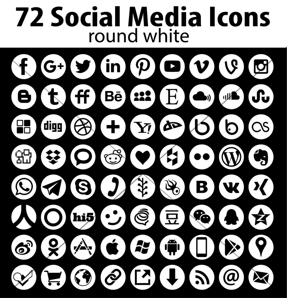 Vector Round Social Media Icons