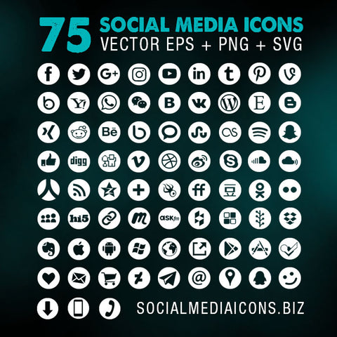 Round Social Media Icons - white (new)