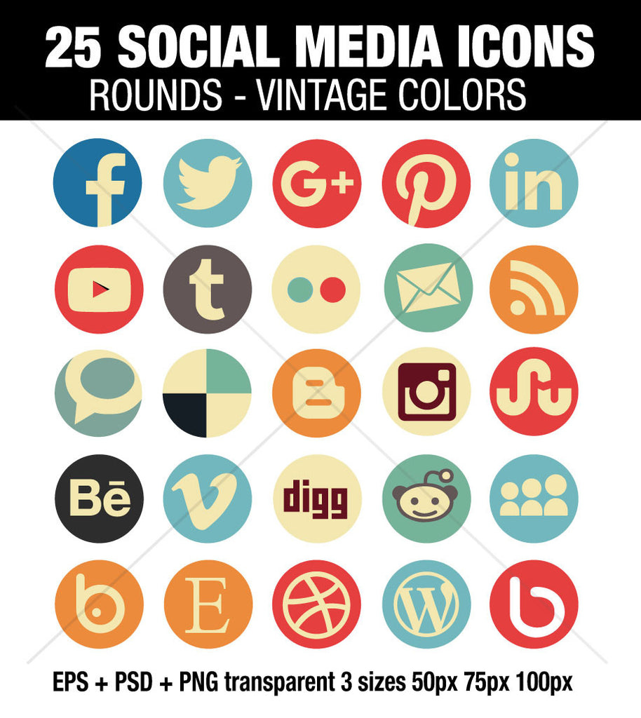 25 Circle social media icons vintage color