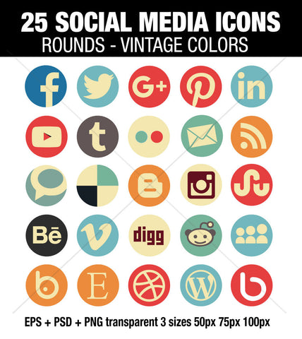 Vintage social media round icons