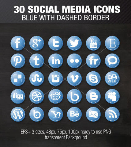 Social media icons rounds blue with dashed border