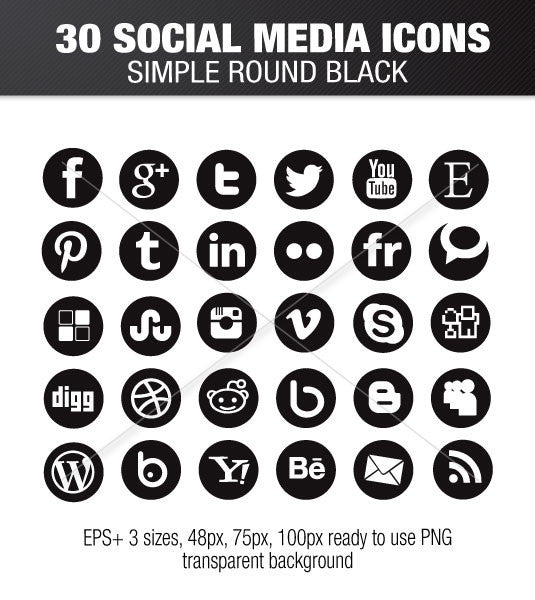 Simple Social Media Round Black Icons