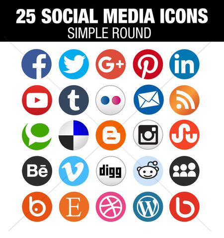 Simple social media round icons