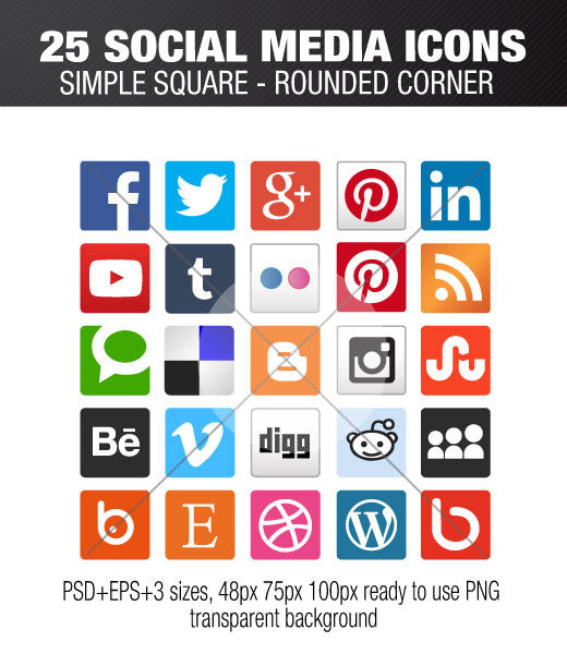 Flat square social media icons with rounded corners