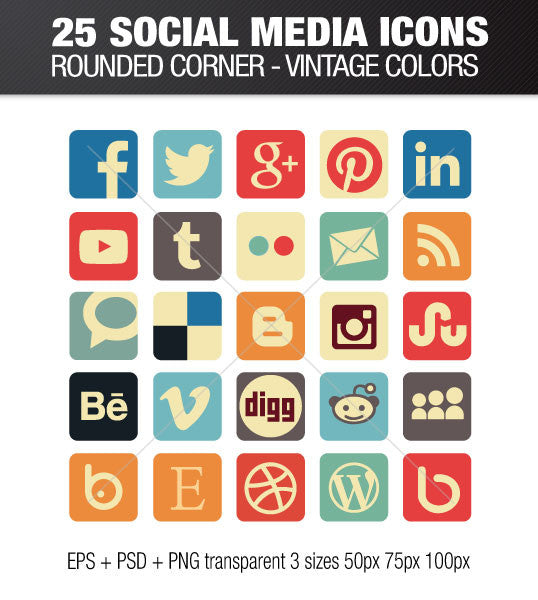 VINTAGE SOCIAL MEDIA ICONS SQUARE WITH ROUNDED CORNER