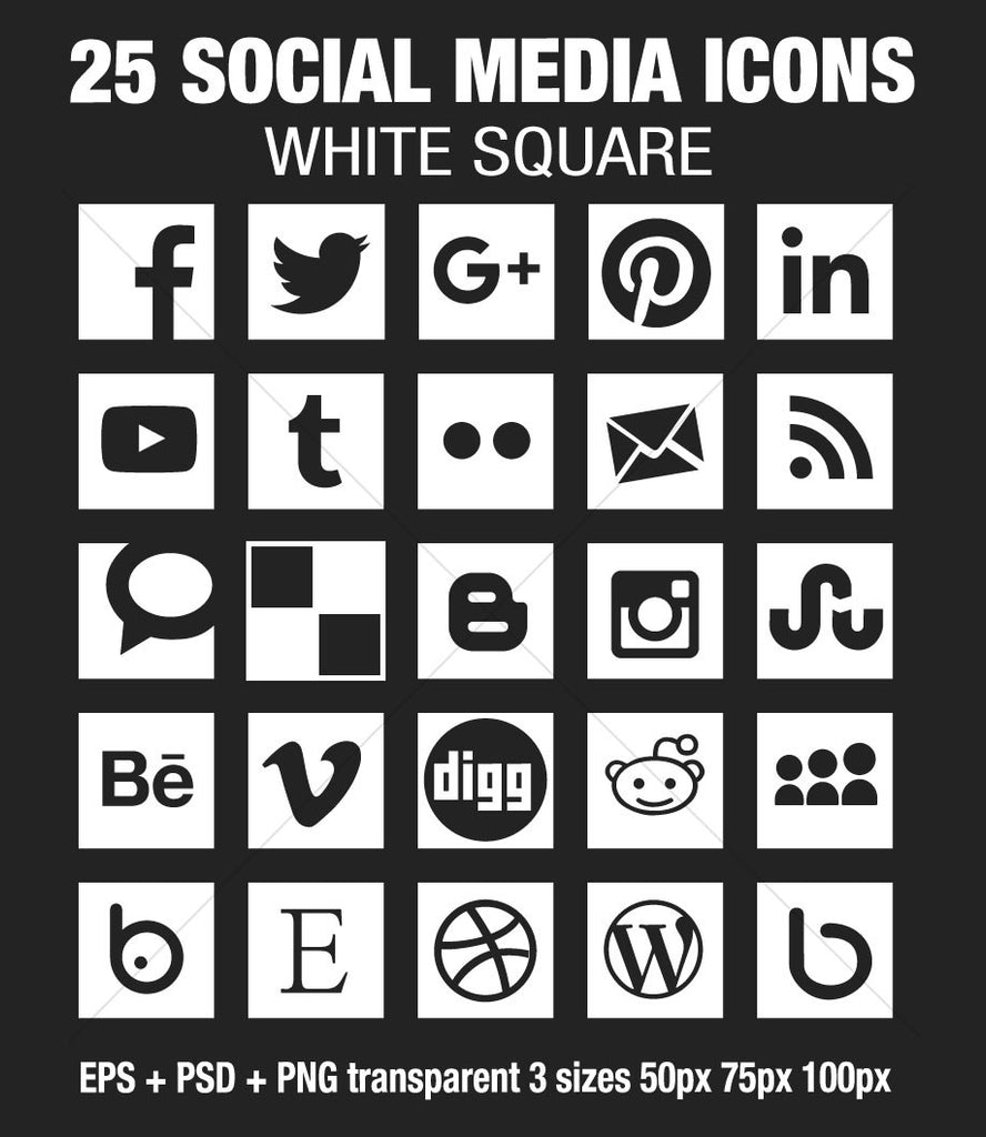 Square Social Media Icons Vector + PSD + Png - white