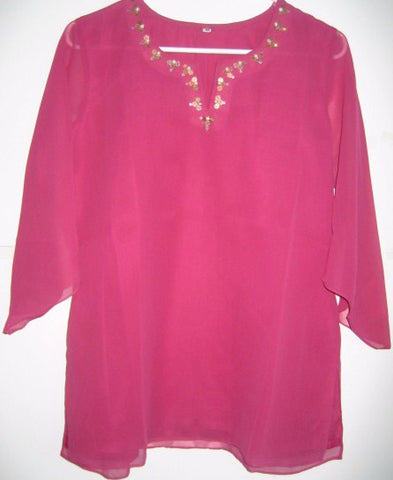 Womens  Blouse   Deep Pink Georgette Embroidered