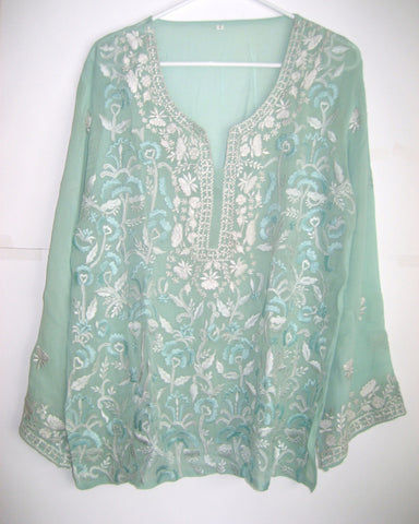 Light Green Georgette Embroidered Blouse