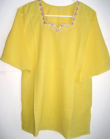 Yellow Georgette Embroidered Blouse