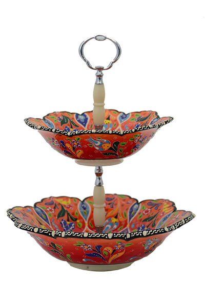 Turkish Ceramic Handmade Two-Tiered Serving Bowls