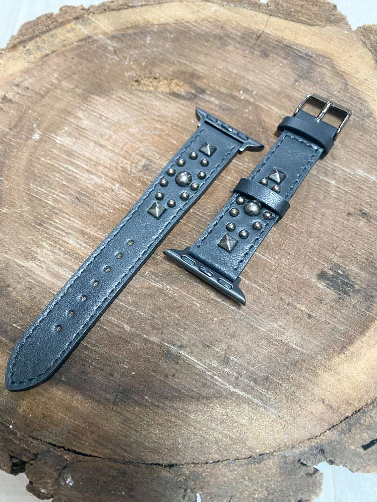 BLACK STUDDED WATCH BAND
