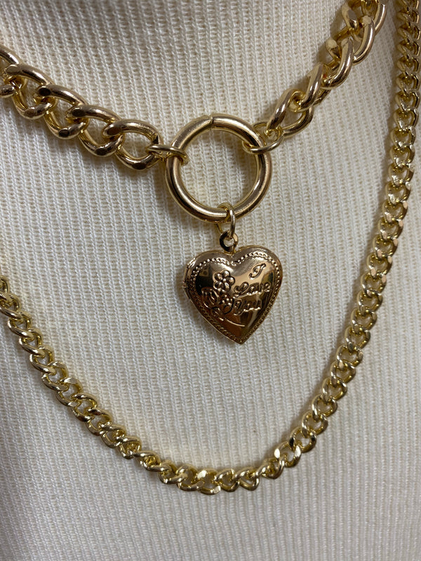 HEART SHAPED CHARM MULTI STRAND NECKLACE
