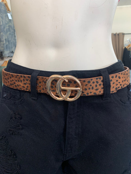 FAUX FUR G BUCKLE BELT- 3 COLORS