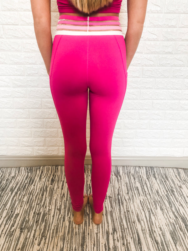 HOT PINK MESH LEGGINGS