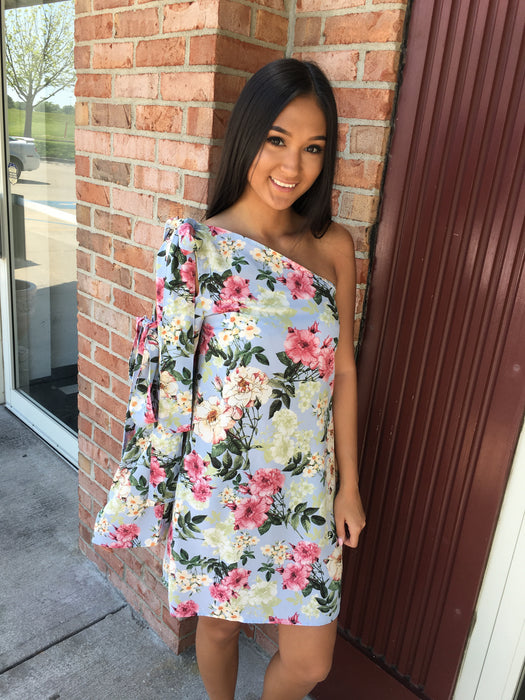 MY KIND OF NIGHT FLORAL ONE SHOULDER DRESS