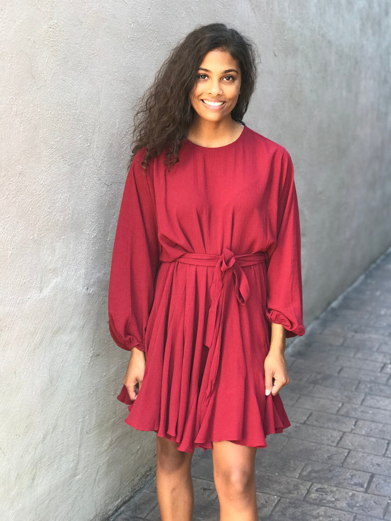 RUFFLE TIED UP DRESS- BURGUNDY
