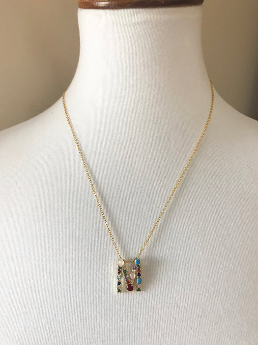 MULTI COLOR INITIAL NECKLACE
