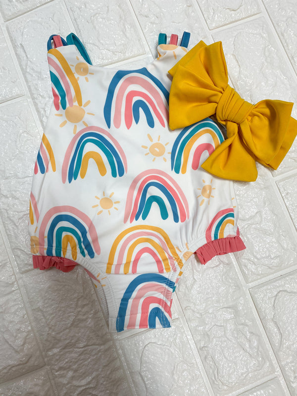 RAINBOW SWIMSUIT WITH HEADBAND