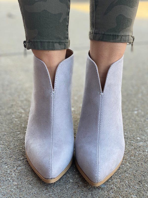GREY ZIP UP BOOTIE