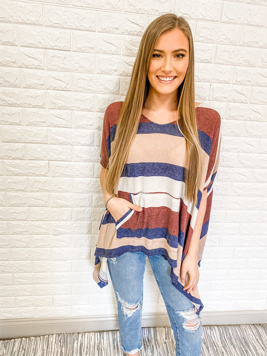 BABY'S BLUE STRIPED PONCHO