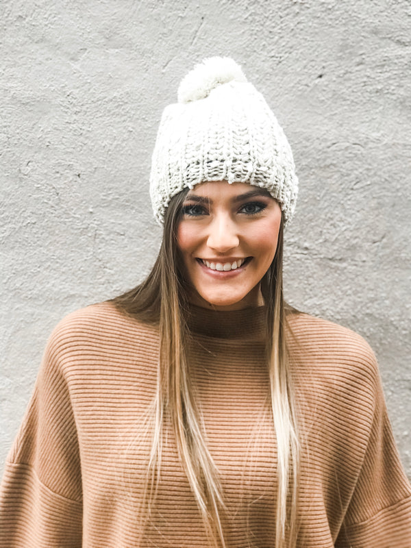CREAM KNIT BEANIE WITH POM