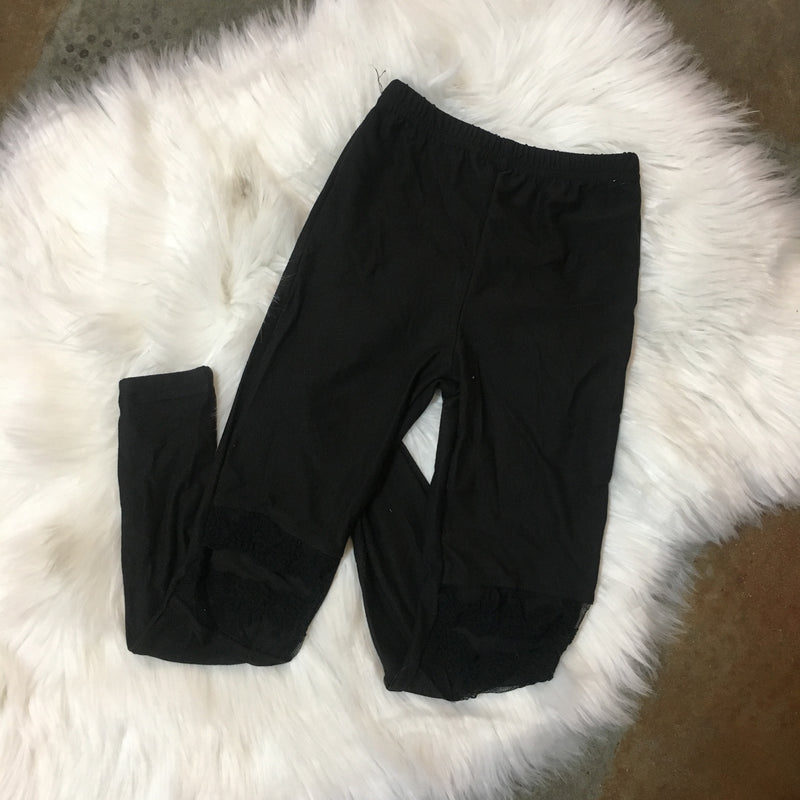 GIRLS LACE CUT OUT LEGGINGS
