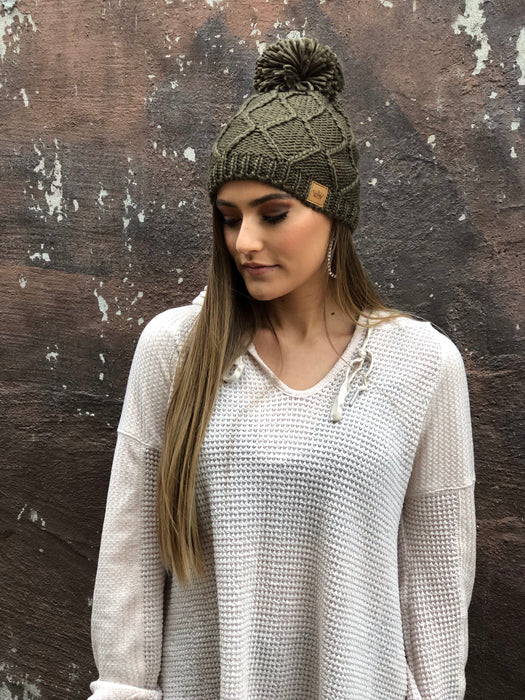 OLIVE FLEECE LINED BEANIE