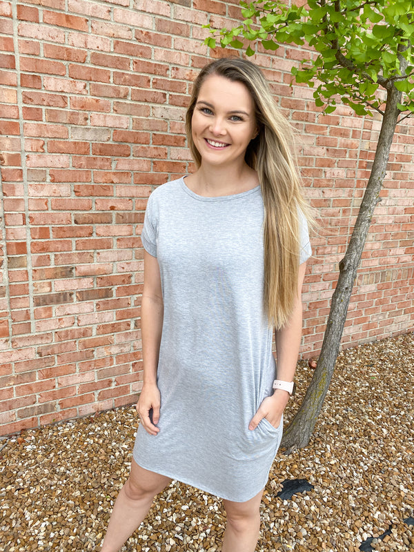 DAMAGE DONE T SHIRT DRESS- GRAY