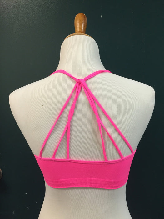 STRAPPY SOLID BRALETTE - NEON PINK