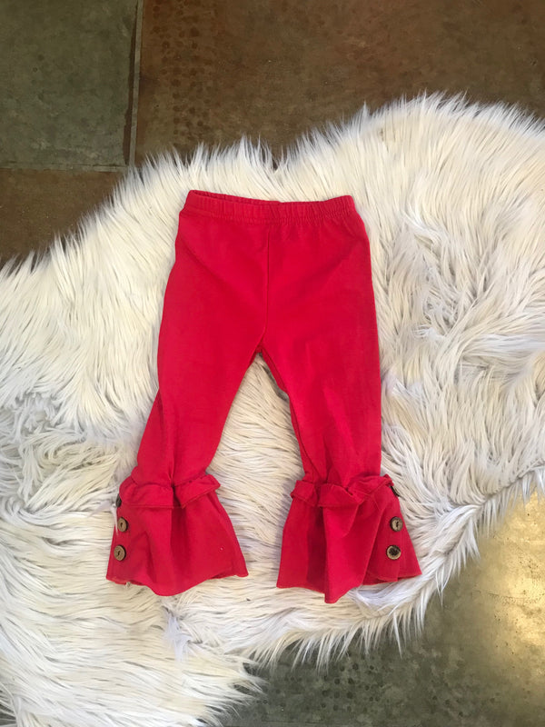 TODDLER FLARE LEGGINGS WITH BUTTONS- RED