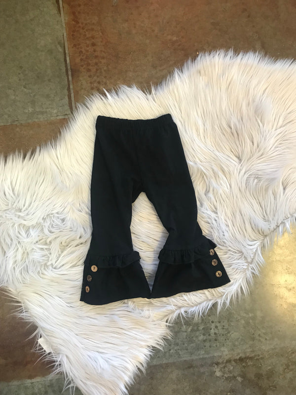 TODDLER FLARE LEGGINGS WITH BUTTONS- BLACK