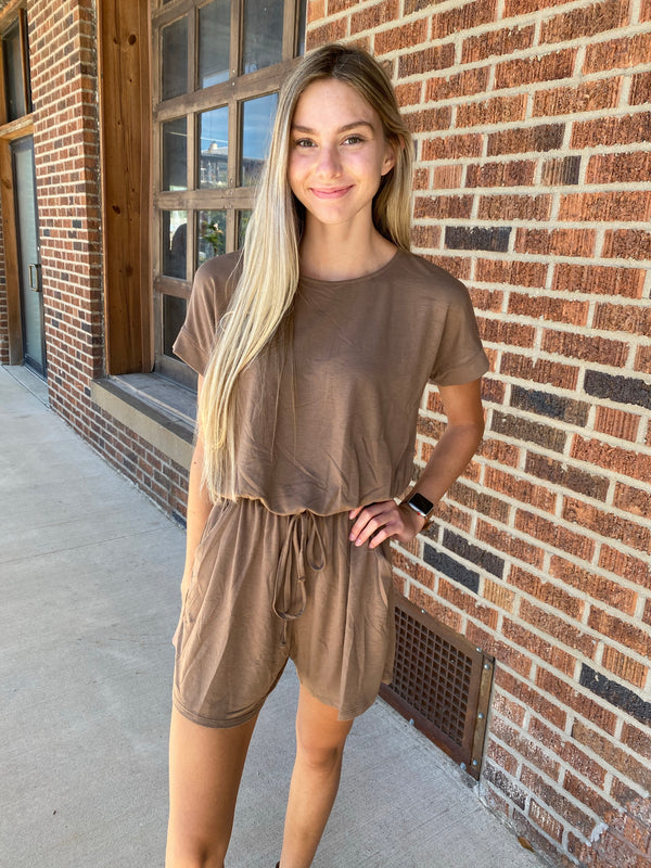 SWEET AS CAN BE ROMPER- MOCHA