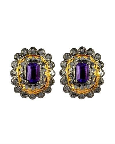 Brand New Earring with 2.75ctw of Precious Stones - amethyst and diamond 14K/925 Two tone Gold plated Silver