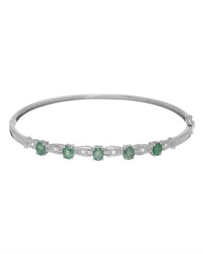 Julius Rappoport Brand New Bracelet with 1.79ctw of Precious Stones - diamond and emerald 14K White gold