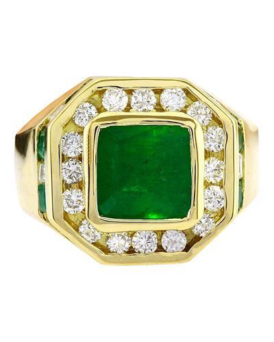5.95 Carat Natural Emerald 14K Solid Yellow Gold Diamond Ring