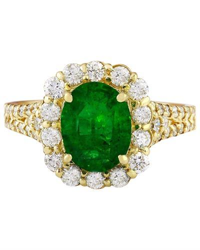 2.35 Carat Natural Emerald 14K Solid Yellow Gold Diamond Ring