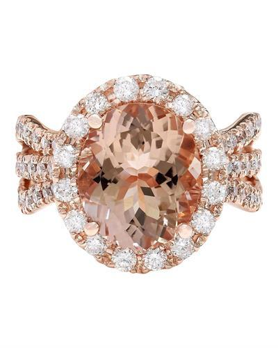 5.29 Carat Natural Morganite 14K Solid Rose Gold Diamond Ring