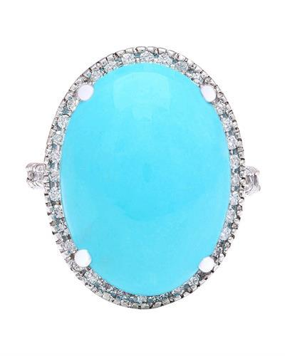19.72 Carat Natural Turquoise 14K Solid White Gold Diamond Ring