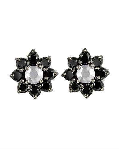 Brand New Earring with 1.95ctw of Precious Stones - diamond and sapphire 925 Black sterling silver