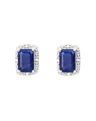 Brand New Earring with 1.32ctw of Precious Stones - diamond and sapphire 925 Silver sterling silver