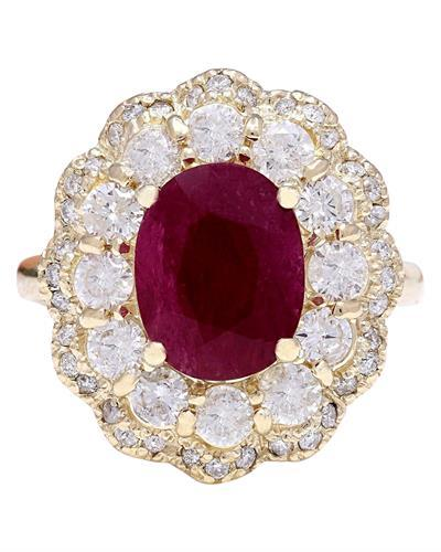 4.78 Carat Natural Ruby 14K Solid Yellow Gold Diamond Ring