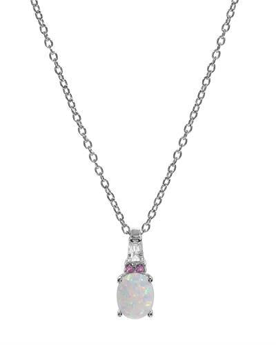 Brand New Necklace with 1.16ctw of Precious Stones - opal and sapphire 925 White sterling silver