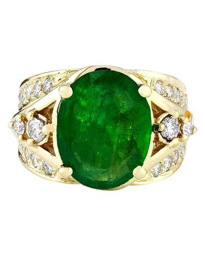 5.67 Carat Natural Emerald 14K Solid Yellow Gold Diamond Ring