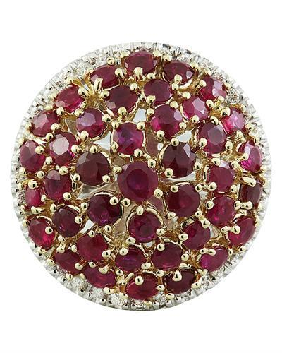 6.20 Carat Ruby 14K Two Tone Gold Diamond Ring