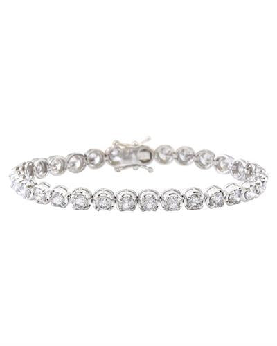 10.96 Carat Natural Diamond 14K Solid White Gold Bracelet