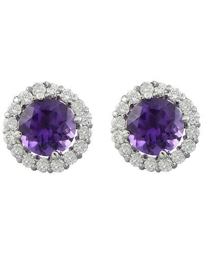 3.65 Carat Amethyst 14K White Gold Diamond Earrings